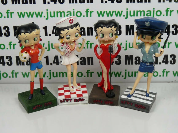 LOT 4 figurines Betty boop resine: chanteuse, Infirmière Foot Espagne, police NY