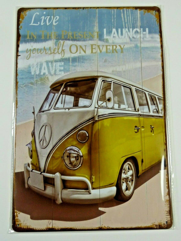 PB68N PLAQUES TOLEE vintage 20 X 30 cm : LIVE IN THE PRESENT Combi