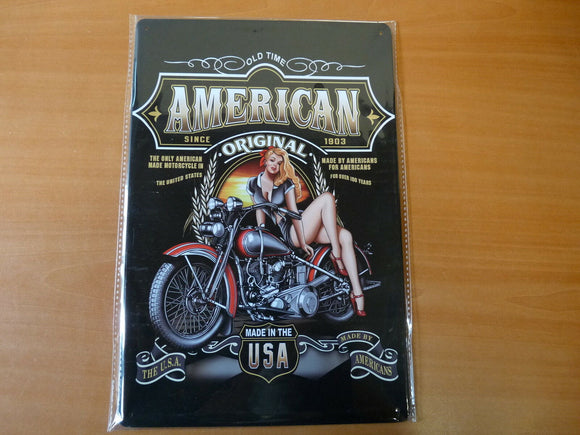 PA72F PLAQUES TOLEE vintage 20 X 30 cm : AMERICAN pin'up moto USA