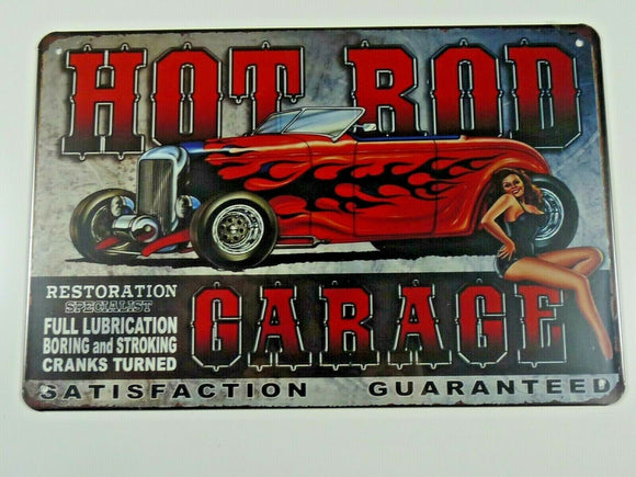 PB82N PLAQUES TOLEE vintage 20 X 30 cm : Pin'up  HOT ROD GARAGE