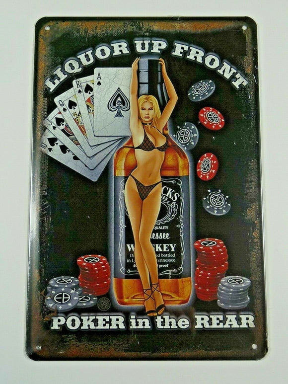 PB59N PLAQUES TOLEE vintage 20 X 30 cm: Pin'up Liquor Up Front Poker in the Rear