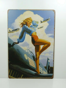 PA7 PLAQUES TOLEE vintage 20 X 30 cm : Pin'up Avion