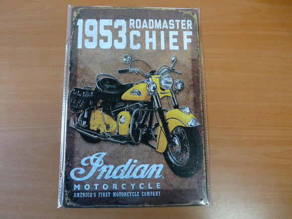PA54F PLAQUES TOLEE vintage 20 X 30 cm : MOTO INDIAN 1953 Roadmaster
