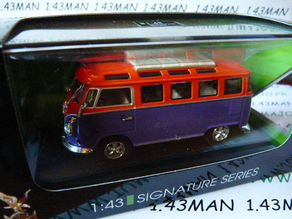 voiture 1/43 ROAD SIGNATURE : VOLKSWAGEN T1 microbus orange/violet 1962
