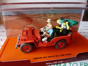 FIL9 Voiture 1/43 Collection TINTIN 2 base orange: Jeep Willys MB 1943 l'Or noir