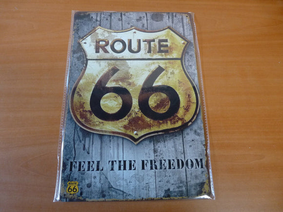 PB95 PLAQUES TOLEE vintage 20 X 30 cm : ROUTE 66 feel the freedom or & bois