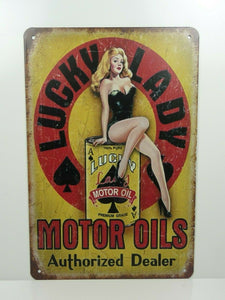 PA34F PLAQUES TOLEE vintage 20 X 30 cm : Pin'up Lucky Lady Motor Oils