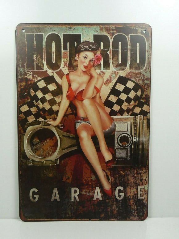 PA10F PLAQUES TOLEE vintage 20 X 30 cm : Pin'up Hot Rod