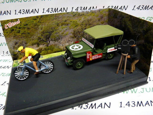 NB12L IXO 1/43 diorama route bleue RN7 JEEP Willys MB course cycliste, vélo