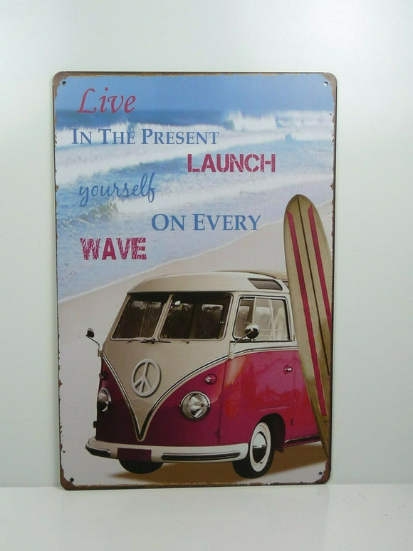 PA18 PLAQUES TOLEE vintage 20 X 30 cm : Live in the Present Combi Surf