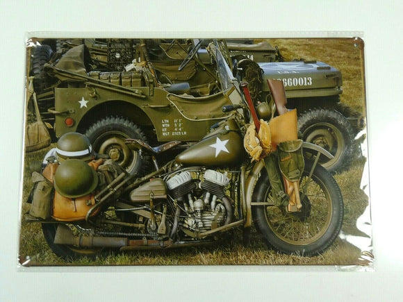 PB74N PLAQUES TOLEE 20 X 30 cm : ARMY MOTORCYCLE