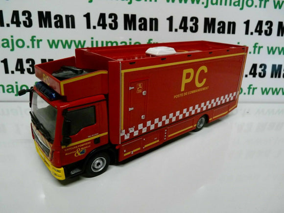 CP34D POMPIER 1/43 IXO altaya PC MAN TGL 12.250 poste commandement