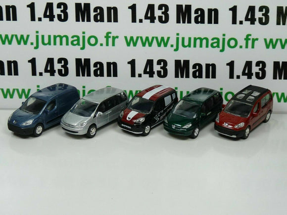 LOT n°5 : 5 X 3 inches 1/64 PEUGEOT NOREV 807, Partner, Tepee, Bipper