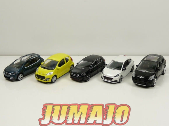 LOT n°10 : 5 X 3 inches 1/64 PEUGEOT NOREV 107 308 Gti 208 2008 3008
