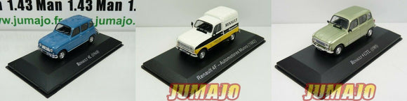 Lot 3 Voitures 1/43 Salvat 4L RENAULT 4 : GTL Clan 1985 + 1968 + service