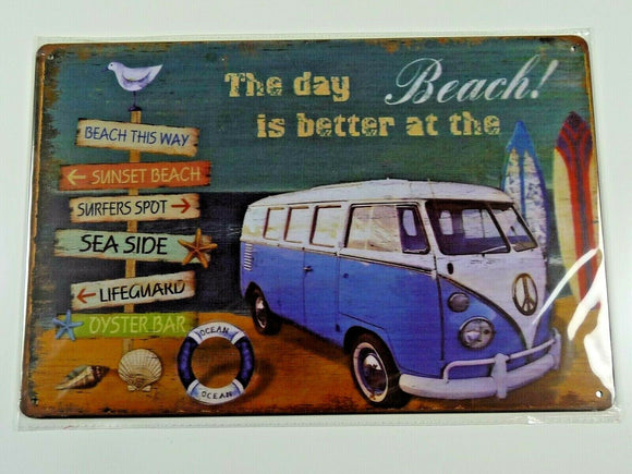 PB86N PLAQUES TOLEE vintage 20 X 30 cm : The day is better at the BEACH COMBI