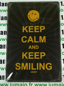 PB96 PLAQUES TOLEE 20 X 30 cm SMILEY : KEEP CALM and KEEP SMILING