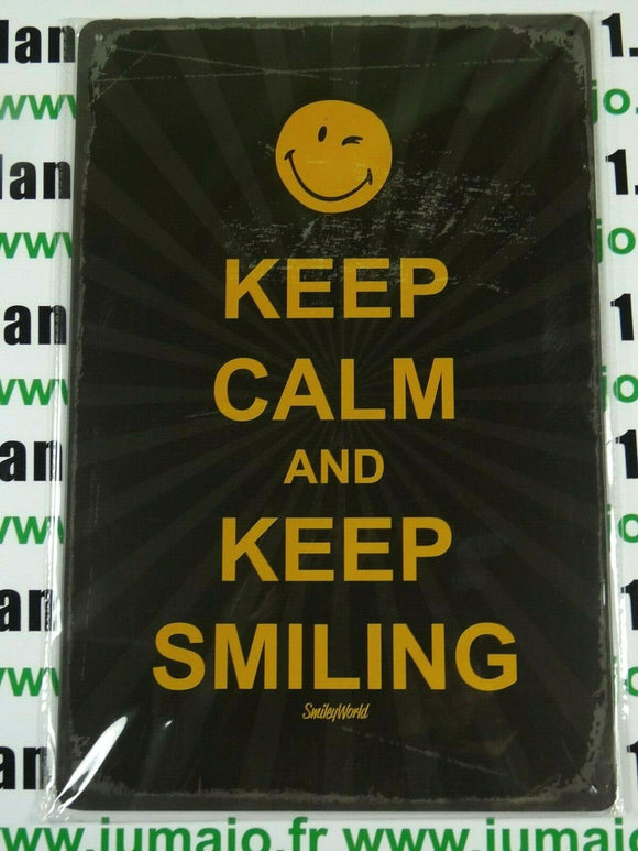 PB96N PLAQUES TOLEE 20 X 30 cm SMILEY : KEEP CALM and KEEP SMILING