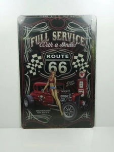 PA6N PLAQUES TOLEE vintage 20 X 30 cm : Pin'up Route 66 Full Service