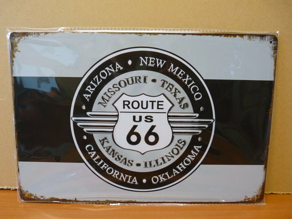 PLAQUES TOLEE vintage 20 X 30 cm : ROUTE 66 : allongé Arizona, new Mexico