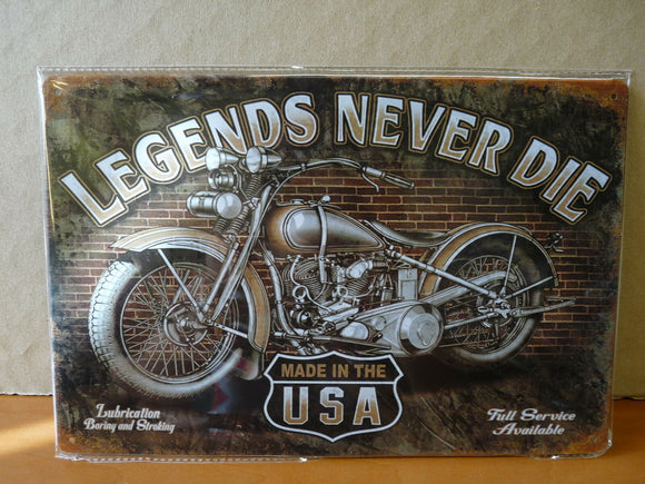 PLAQUES TOLEE vintage 20 X 30 cm : LEGENDS NEVER DIE moto motorcycle USA