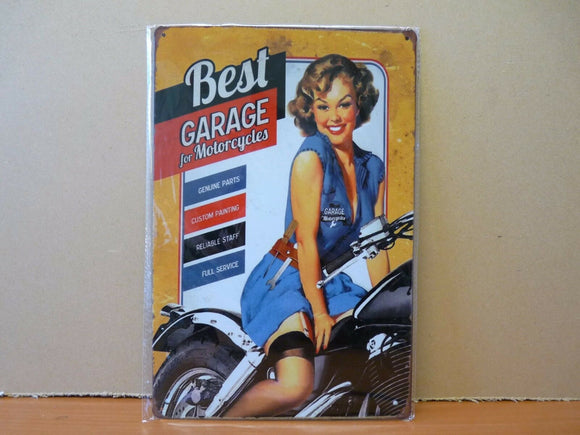 PA49 PLAQUES TOLEE vintage 20 X 30 cm : Pin'up motos best garage
