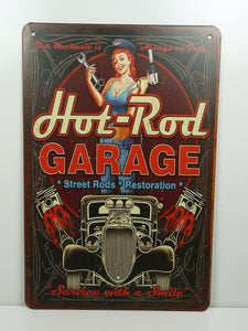 PA32F PLAQUES TOLEE vintage 20 X 30 cm : Pin'up Hot-Rod Garage