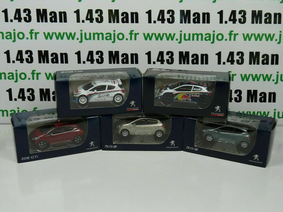 LOT n°3 : 5 X 3 inches 1/64 PEUGEOT NOREV  208 3 p, 5 portes, GTi, pikes peak