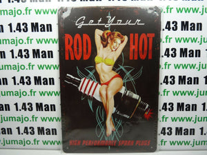 PA122 PLAQUES TOLEE vintage 20 X 30 cm : Pin'up Get Your Rod Hot
