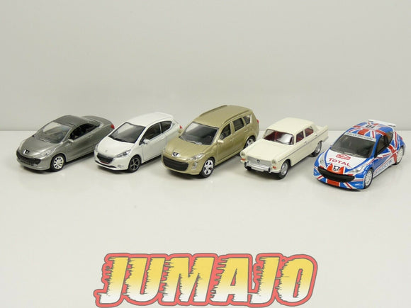 LOT n°7 : 5 X 3 inches 1/64 PEUGEOT NOREV 207 Super 2000 UK cc 208 Gti 404 4007