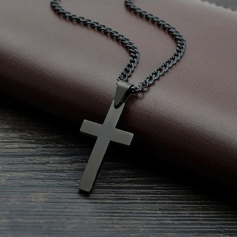 Large Black Stainless Steel and Titanium Cross - Ballooo