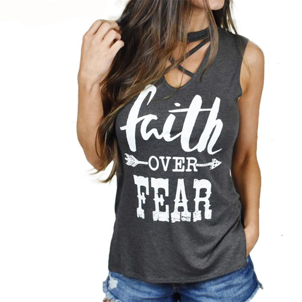Ladies Faith Over Fear  Lace Up Neck, Split Length Back T-Shirt - Ballooo