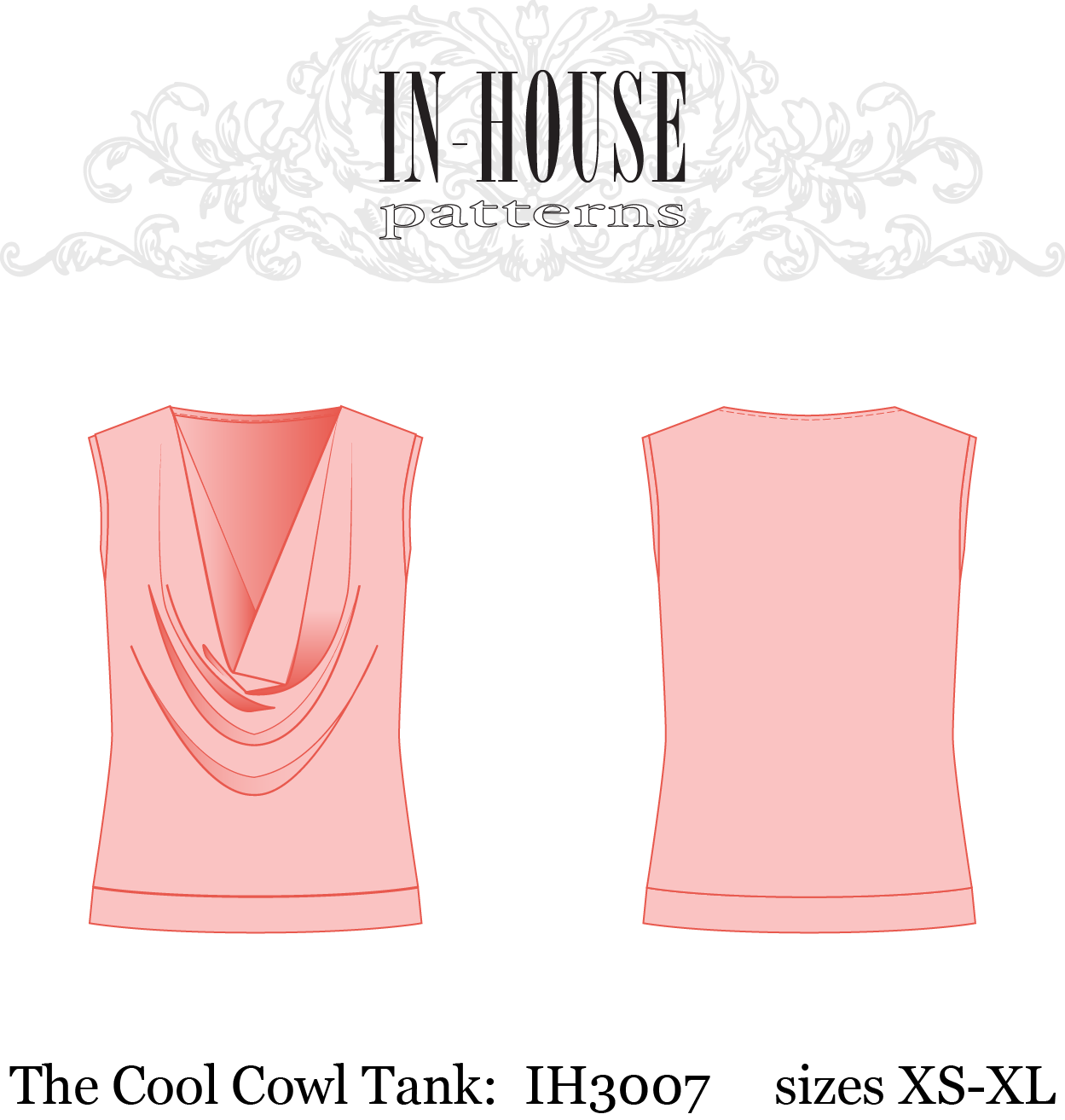 PDF sewing pattern for a knit cowl neck tank top – In-House Patterns