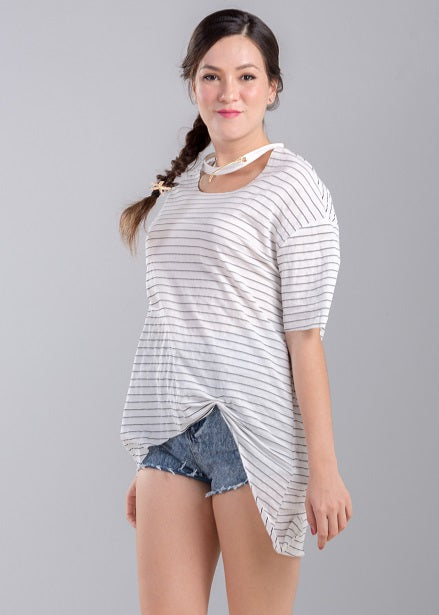Shelby T-Shirt in White Stripe