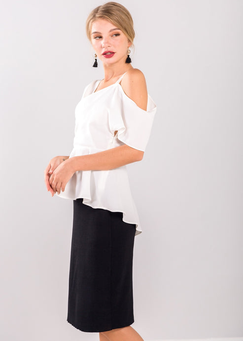 Lynne Ruffle Top in White