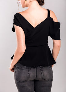 Lynne Ruffle Top in Black