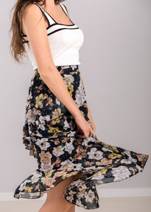 Cecily Floral Skirt in Dark