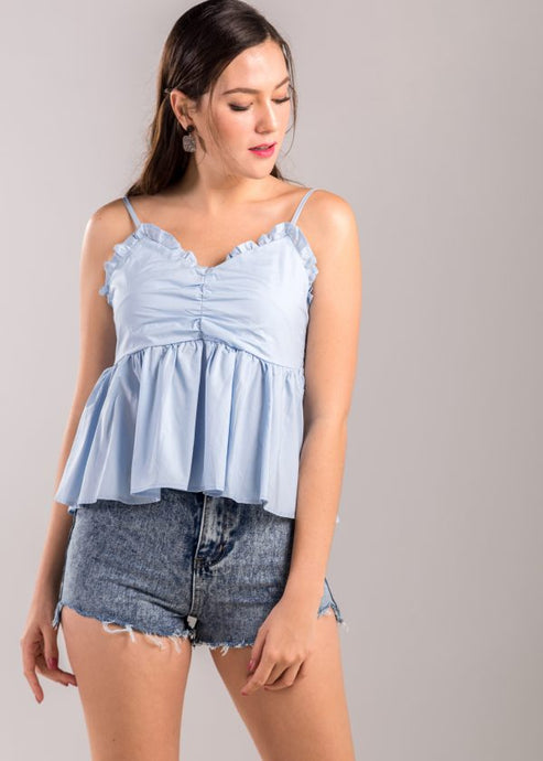 Alexina Ruffle Top in Blue