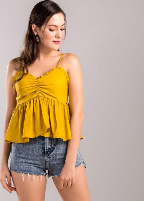 Alexina Ruffle Top in Mustard
