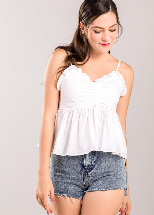 Alexina Ruffle Top in White