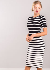 Abbey Stripe Dress in Black