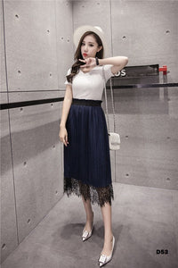 Lace Midi Skirt (Black/ Blue)