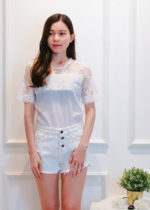 Quine Floral Top in White