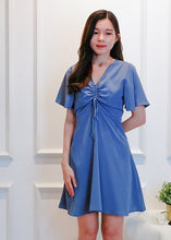Load image into Gallery viewer, Ava Drawstring Dress in Blue