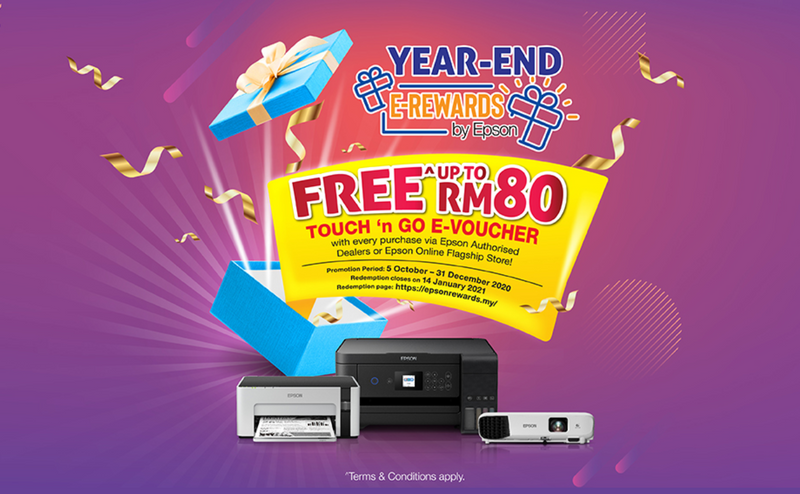 Epson Year End E-Rewards ! Get Touch 'n' Go E-Voucher with purchase of Epson participating products !