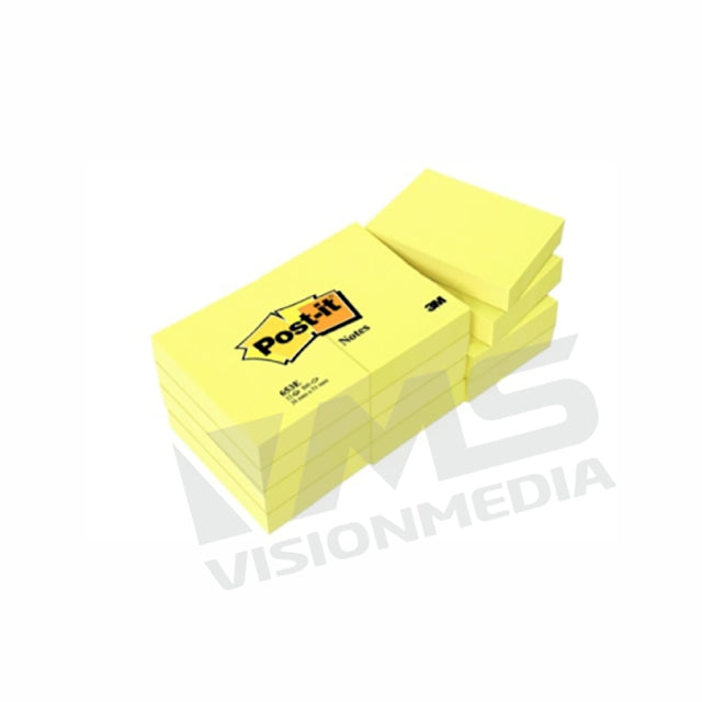 "3M POST-IT NOTES 653 YELLOW (1.5"" X 2.0"") (12 PADS/PACK)"