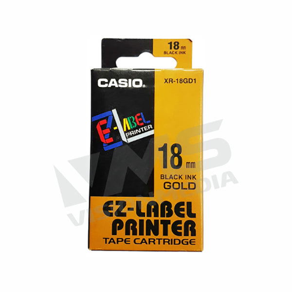 CASIO EZ-LABEL 12MM BLACK ON GOLD (XR-12GD1)