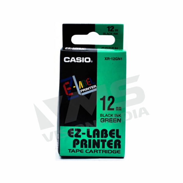 CASIO EZ-LABEL 12MM BLACK ON GREEN (XR-12GN1)