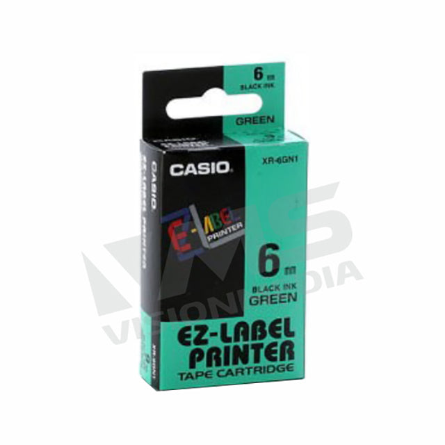 CASIO EZ-LABEL 6MM BLACK ON GREEN (XR-6GN1)