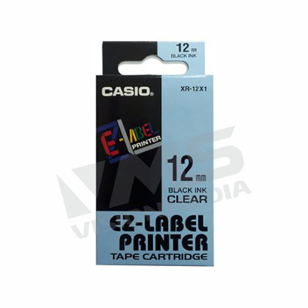 CASIO EZ-LABEL 12MM BLACK ON CLEAR (XR-12X1)